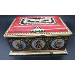 Vintage Lynette Tin Bank Box, Made in Germany. Red & Gold w/ Floral Design