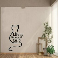Fun Life Is Better With Cats Self Adhesive Vinyl Wallpaper Living Room Company
