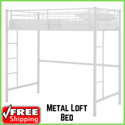 Twin Loft Bed Made of Powder-Coated Metal Premium Traditional Manor Park White
