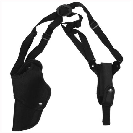 img-TACTICAL COMBAT SHOULDER HOLSTER MAGAZINE POUCH LEFT HAND AIRSOFT SHOOTING BLACK