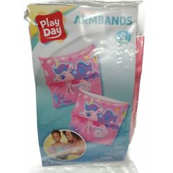 NEW Play Day Inflatable Printed Swim Arm Bands Floaties Pool Floats, Unicorn