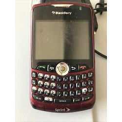 Rare Blackberry 8330 Red Maroon Cell Phone Sprint with charger turns on 2gb Card