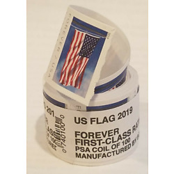 1 ROLLS 2019 American Flag Postage 100 USPS Forever Mail Sealed Free Ship