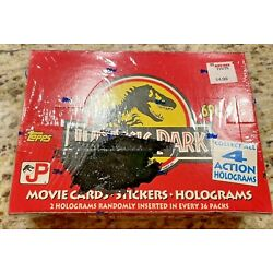 1992 Topps JURASSIC PARK Movie Cards Stickers Holograms Wax Box 36ct  SEALED NEW
