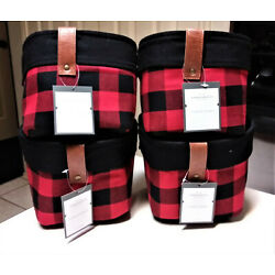 Threshold Red/Black Buffalo Plaid Storage Basket 8 In Wide X 6 in Tall Set of 4