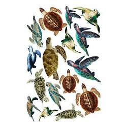 Tropical Sea Turtle Fabric Wall Decal Stickers