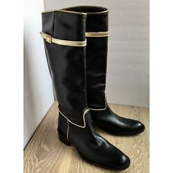 NEW VIA Roma 15  Black / Gold Leather Knee high Boots Made in ITALY 38 US 7.5
