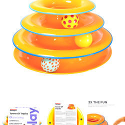 Petstages Cat Tracks Cat Toy - Fun Levels of Interactive Play - Circle Track ...