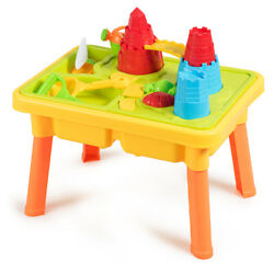 2-in-1 Sand and Water Table Activity Beach Play Set w/Sand Castle Molds & Cover