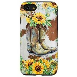 iPhone SE 2020 / 7 / 8 Sunflower Cowhide Cowboy Boots Cowgirl Rodeo Horse Gir...