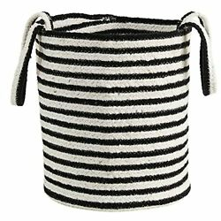 13in. Boho Chic Basket Planter Natural Cotton Handwoven Black and White Strip...