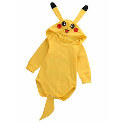 Pokemon Infant Baby Boy Girl Pikachu Outfit Jumpsuit Romper Halloween Costume