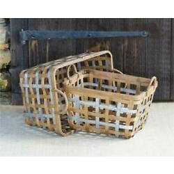 Bamboo and Metal Basket - Two Sizes