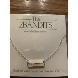 The 2Bandits Athens Iridescent Bar Pendant Necklace New