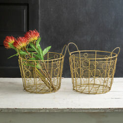 Set Two Gold Baskets | Shipping Storage Nest Kitchen Dining Farmhouse Country
