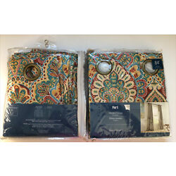 Pier 1 Vibrant Paisley Curtain Grommet Panel 50  X 84  Red Blue Yellow Green NEW