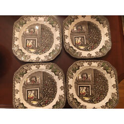 Johnson Brothers MERRY CHRISTMAS SQUARE PLATE  Set Of 4