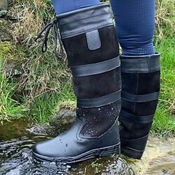 COUNTRY BOOTS BLACK by KTY Ladies Men's LEATHER EQUESTRIAN WATERPROOF -Pre Order