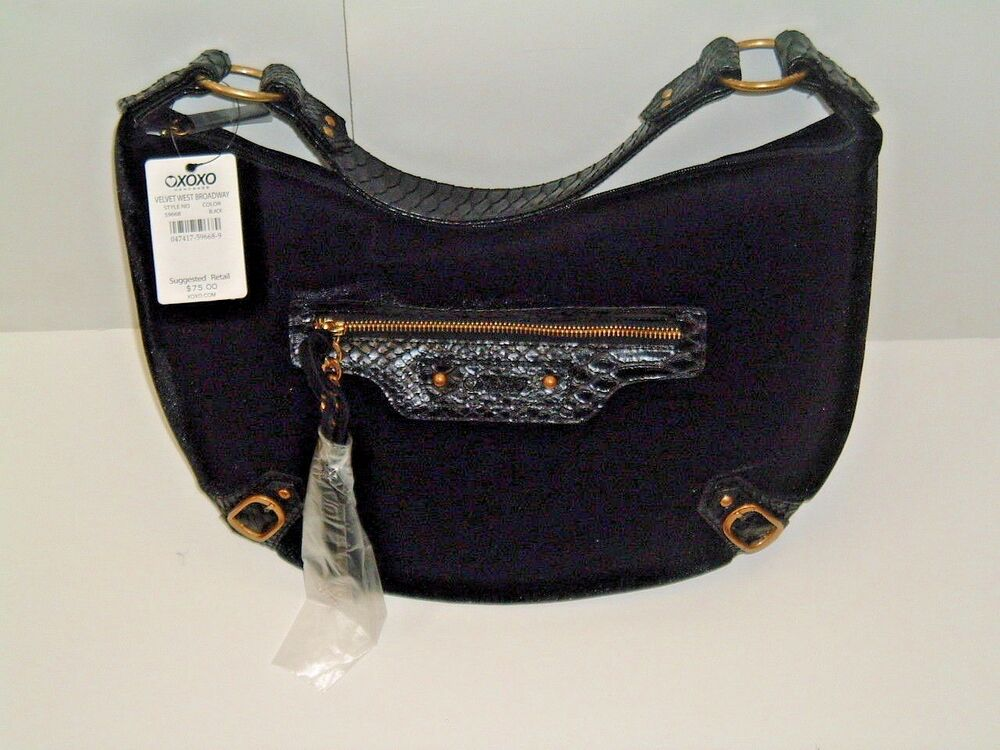 XOXO Velvet West Broadway Handbag Blk NWT $75.00 Ret.