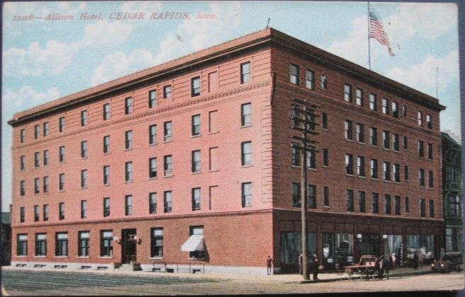 1910 postcard allison hotel cedar rapids iowa ebay. Black Bedroom Furniture Sets. Home Design Ideas