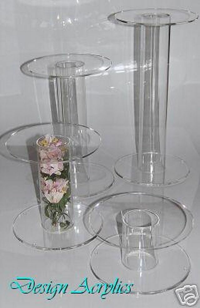 4 Giant Acrylic Single Stem Cake Stands Wedding Cascade Ebay