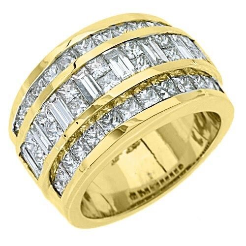 Mens 338 carat princess baguette cut diamond ring wedding for Mens wedding rings baguette diamonds