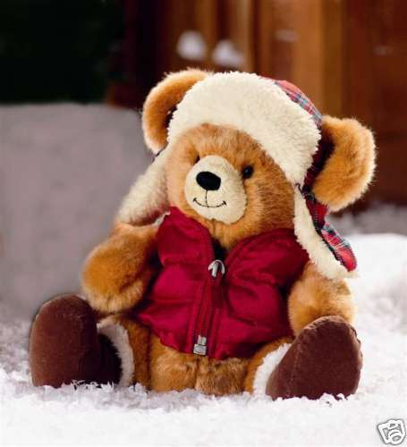 boomer winter bear wearing coat and hat 10 inch plush. Black Bedroom Furniture Sets. Home Design Ideas
