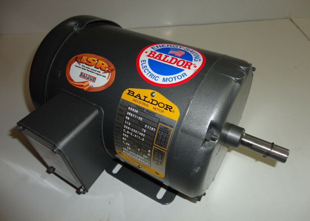 Baldor m3536 electric motor 1 3 hp 850 rpm 3 ph fr 56 ebay for One horsepower electric motor