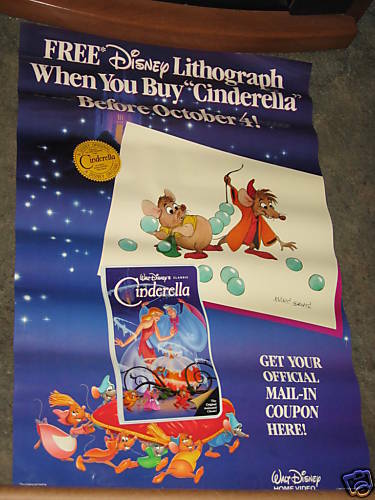 Cinderella 1988 VHS Movie Poster 26x40 Walt Disney | eBay
