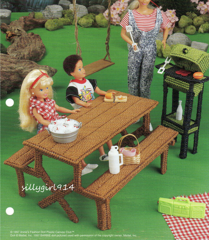 Picnic Table Grill Plastic Canvas Pattern Only Fits Barbie Fashion Doll Ebay
