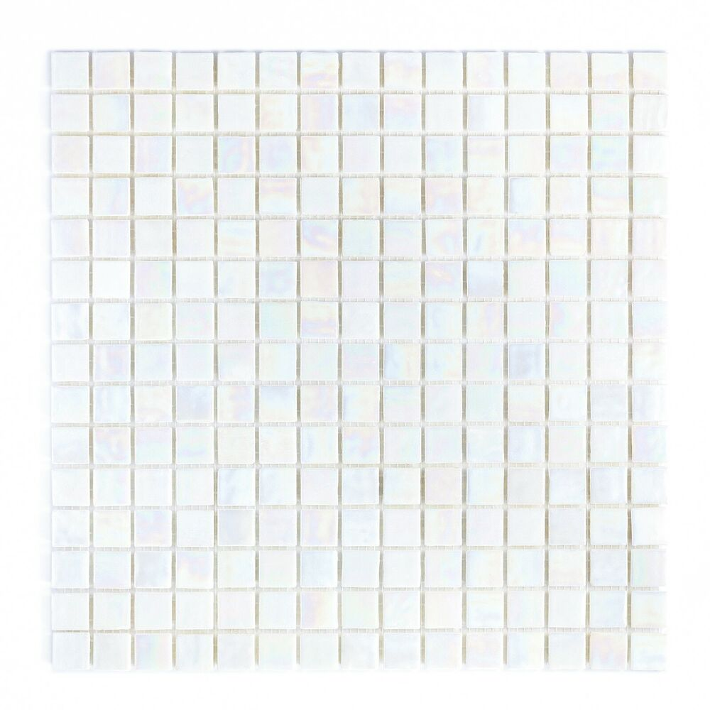White Iridescent Mosaic Glass Tile For Kitchen Amp Bath Ebay