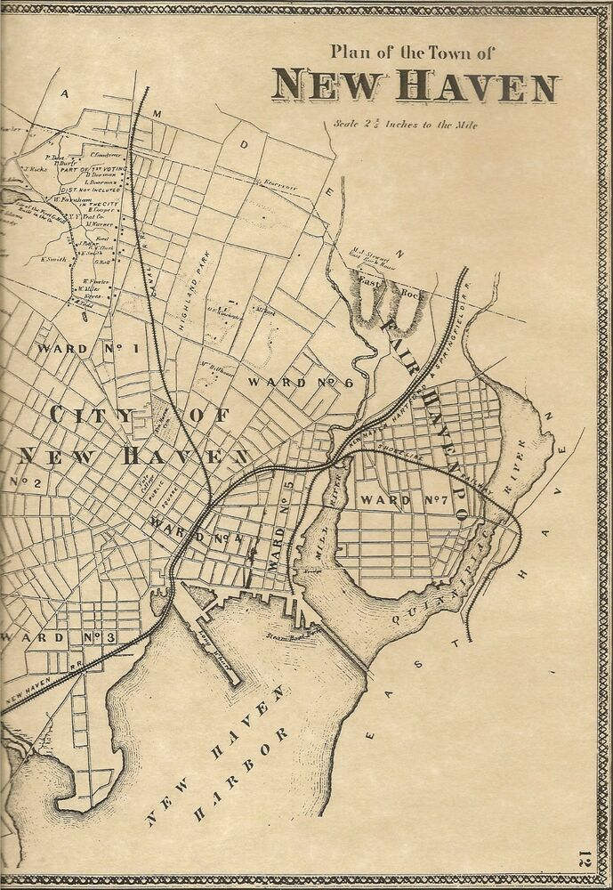 new haven fairhaven westville ct 1868 maps with homeowners names shown ebay. Black Bedroom Furniture Sets. Home Design Ideas