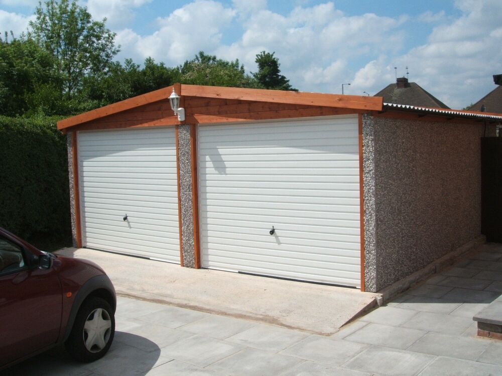 Apex roof double concrete garage ebay for Surface garage double