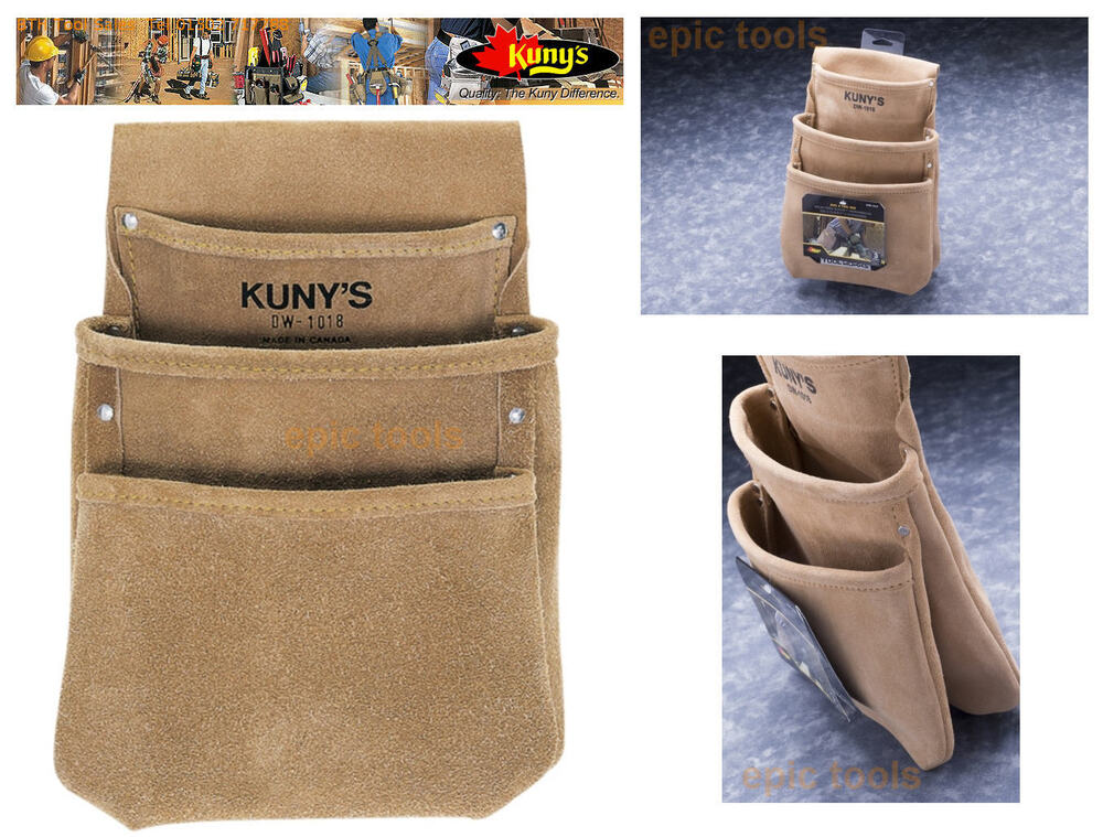 Details about KUNYS Split Grain Leather 3 Pocket Drywall Nail Tool Belt  Pouch Holder 6f9111d1e