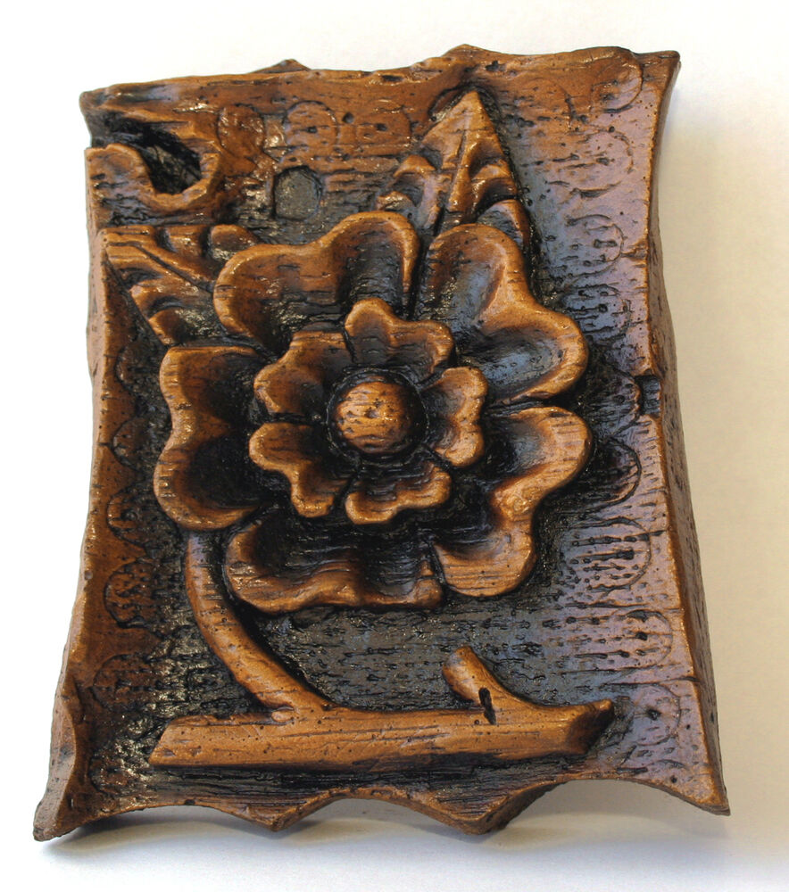 Tudor rose ornament wall plaque foliage medieval cottage