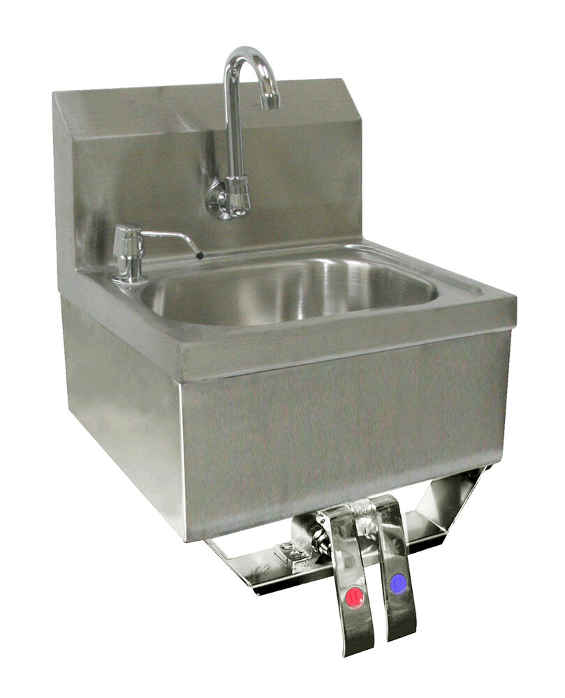 Sink Valve : ACE S/S Hand Sink 16X15 knee operated Valve No Lead Faucet,Strainer HS ...