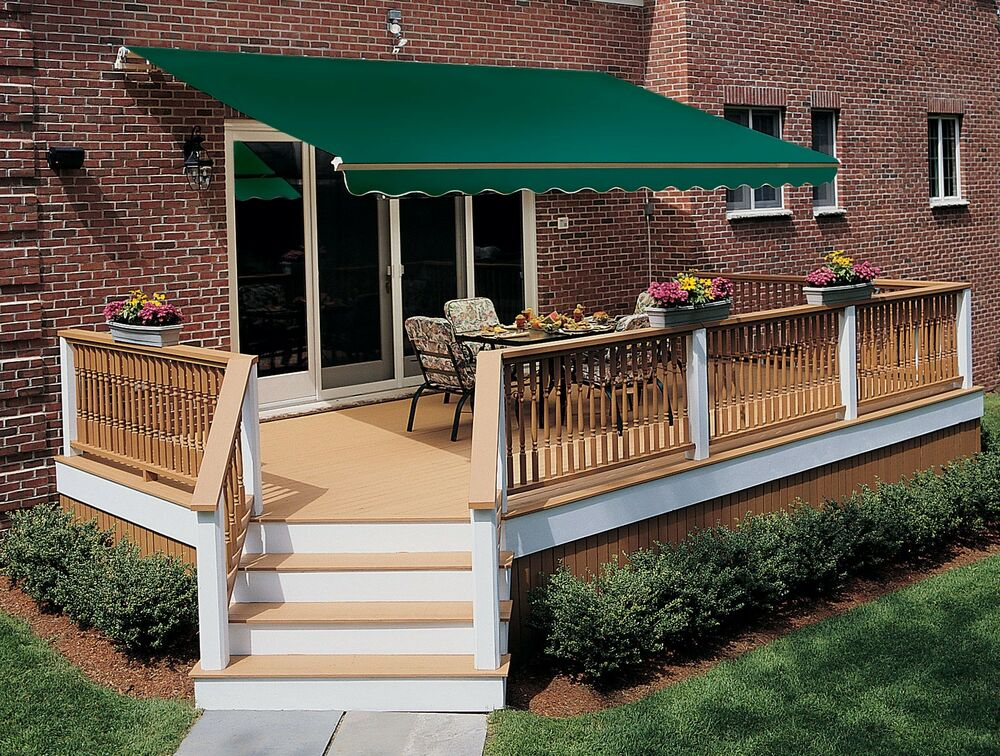 13 ft sunsetter vista manual retractable awning outdoor for Retractable patio awning canopy