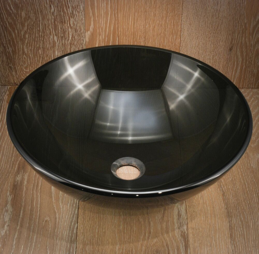 bathroom glass vessel basin sink vanity bowl new black ebay. Black Bedroom Furniture Sets. Home Design Ideas