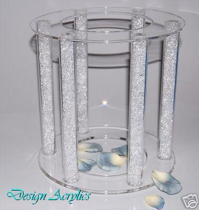 Large Clear Acrylic Cage Wedding Cake Stand 6 Pillars Ebay