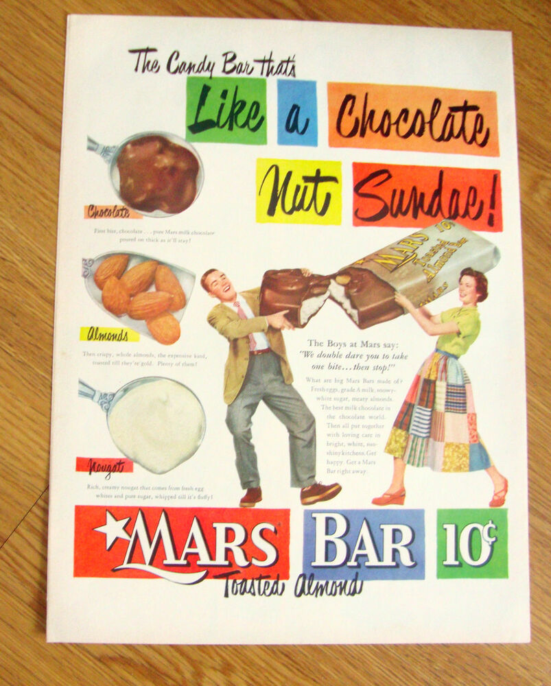 1951 mars candy bar ad like a chocolate nut sundae ebay