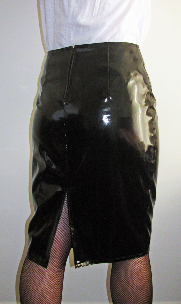 Sexy Shiny Skin Tight Clothing Black Pvc Knee Length