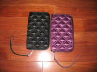 AUTH NEW MARC JACOBS SATIN QUILT PURSE BLACK / PURPLE
