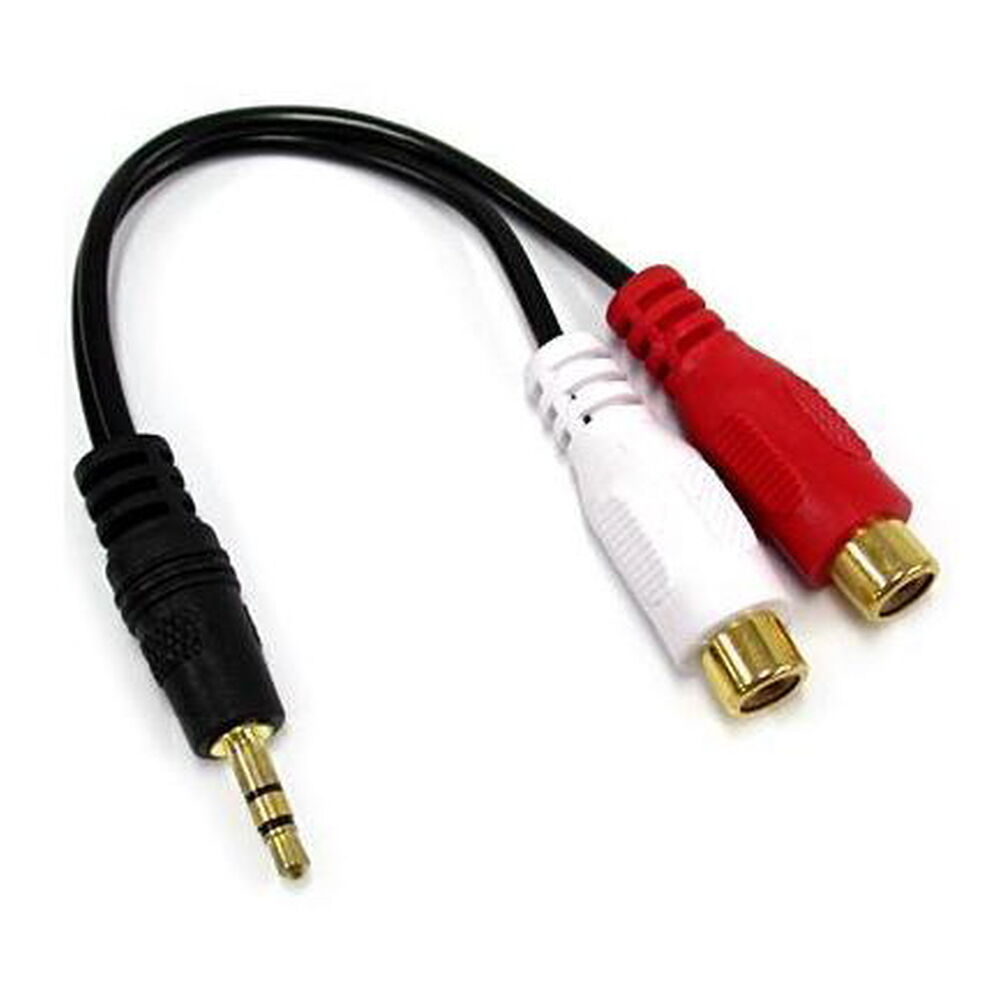 3.5mm MALE to DUAL RCA FEMALE ADAPTER CABLE STEREO NEW! | eBay