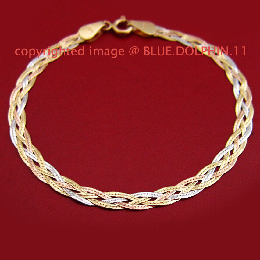 White Gold Chain Bracelet: Solid 18ct Yellow White Rose Gold Twist Diamond Edge Ring