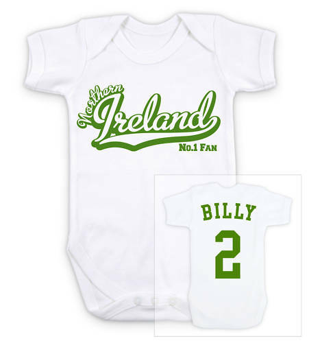 ddb85a7fdbf Details about NORTHERN IRELAND Football Personalised Baby Grow