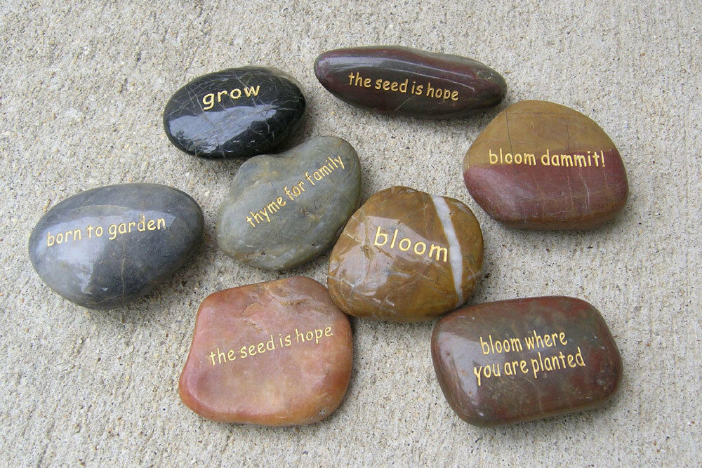 Landscape Rock With Engraving : Word stones garden engraved river rock