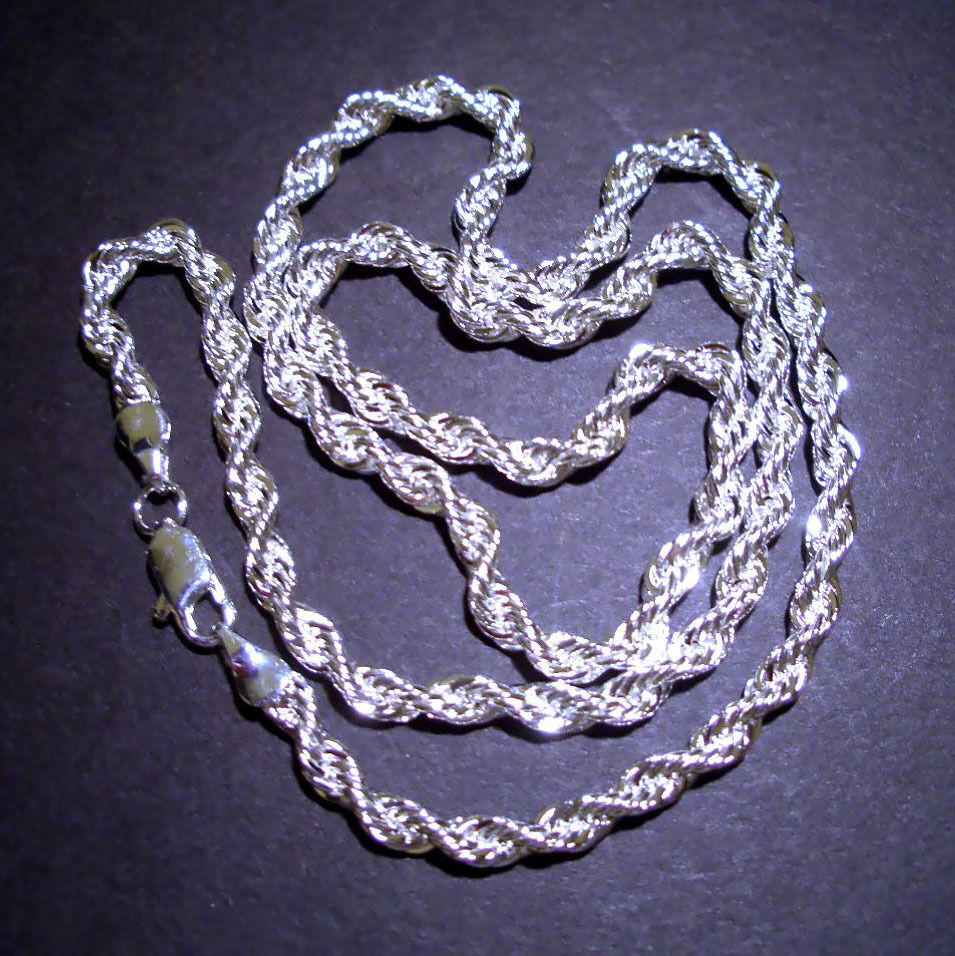 silver rope chain necklace 18 quot ebay