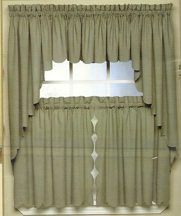 SCALLOP EDGE CURTAIN VALANCE TIERS SWAG VARIOUS COLORS
