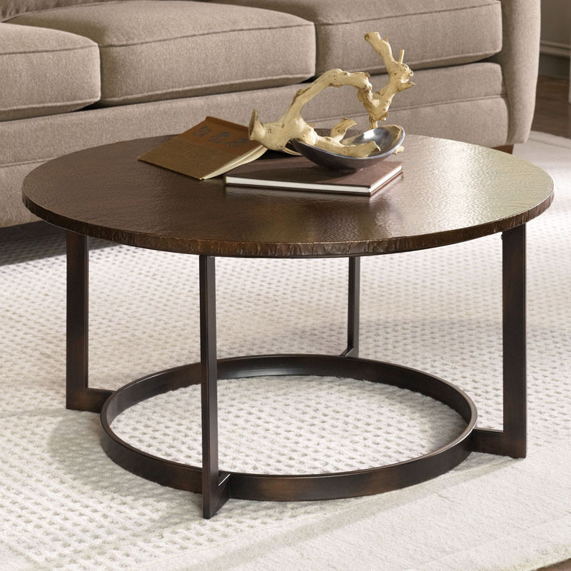 Rustic hammered copper round coffee table ebay Round rustic coffee table