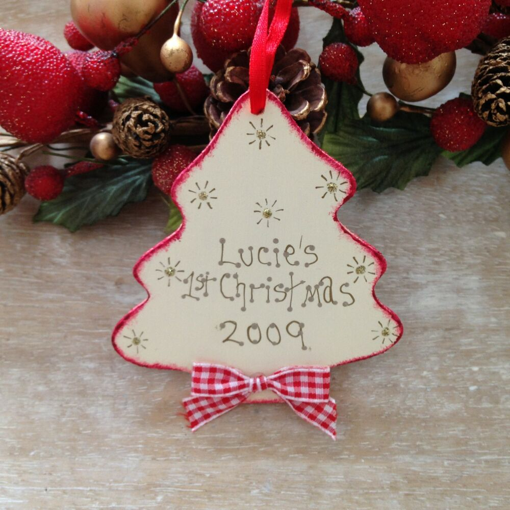 Personalised baby s my first christmas tree decoration for Baby christmas tree decoration